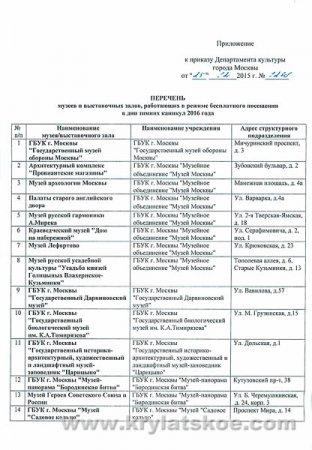 На каникулах музеи Москвы будут работать бесплатно